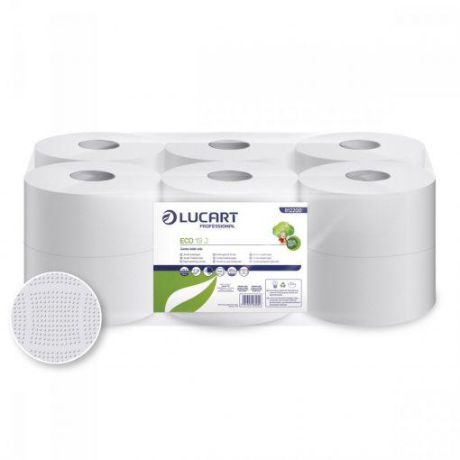 Midi toalettpapír, Lucart Eco 19 J, 19 cm átm., 2 rét., 12 tek/csom