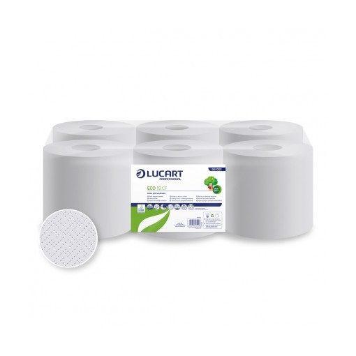 Centroclean kéztörlő, Lucart Eco 19 CF, 2 réteg, fehér, 19 cm átmérő, 6 tekercs/csomag