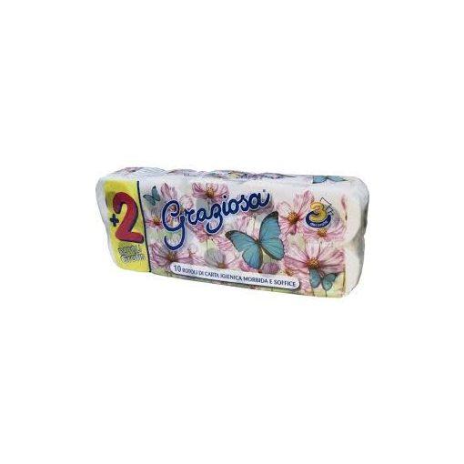 WC-papír háztartási méretű, 3 réteg, GRAZIOSA, 150 lap, 10 tekercs/csomag